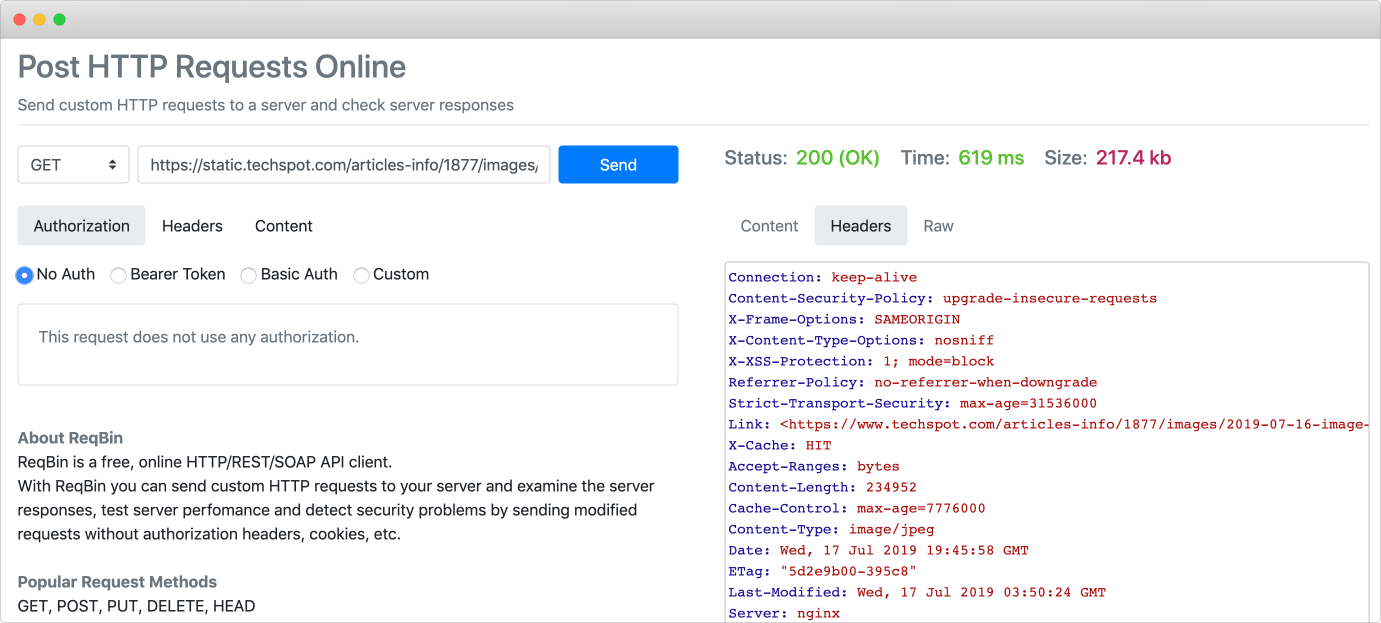 Free HTTP Request Tools for Inspecting CDN Cache Headers